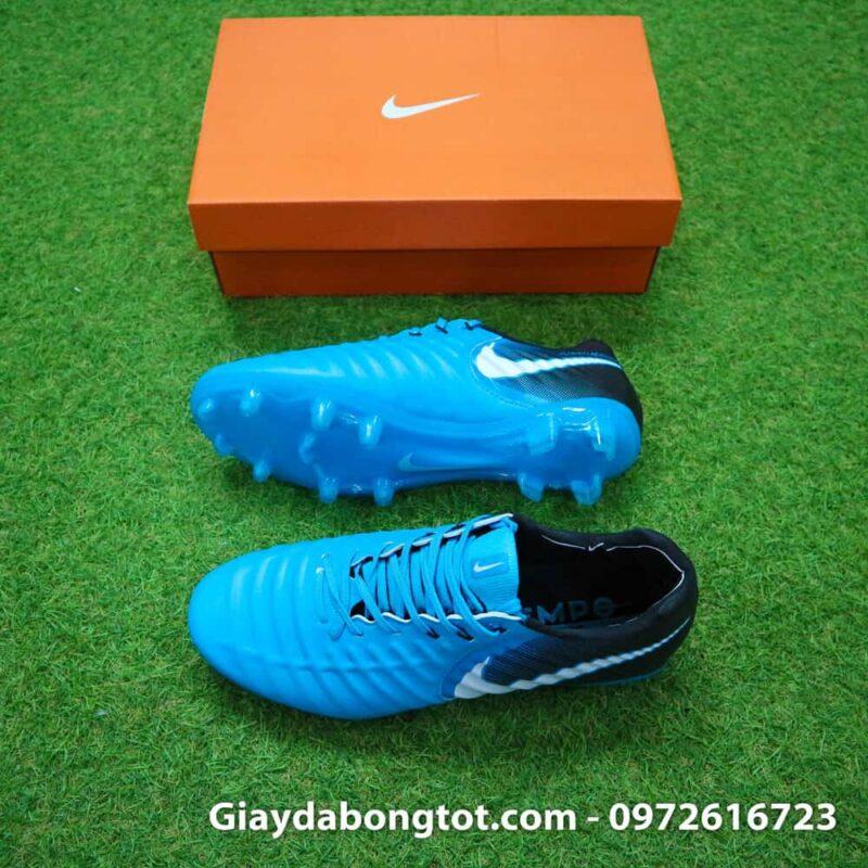 Giày đá bóng Nike Tiempo Legend VII lười gà liền màu xanh dương gót đen (2)