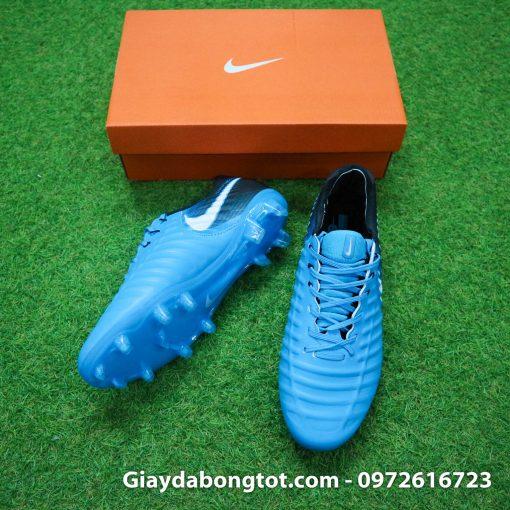 Giày đá bóng Nike Tiempo Legend VII lười gà liền màu xanh dương gót đen (3)