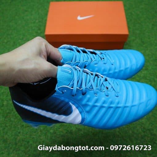 Giày đá bóng Nike Tiempo Legend VII lười gà liền màu xanh dương gót đen (8)