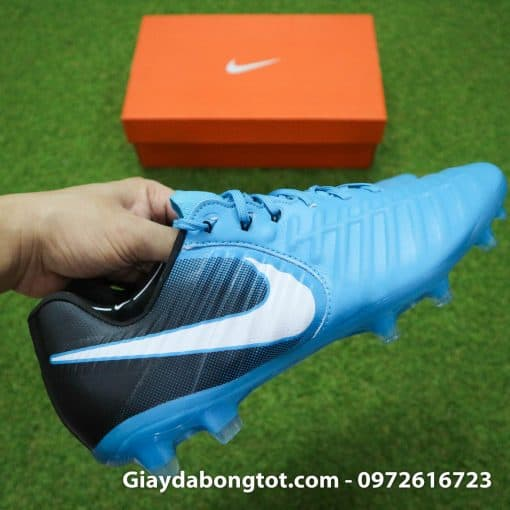 Giày đá bóng Nike Tiempo Legend VII lười gà liền màu xanh dương gót đen (9)