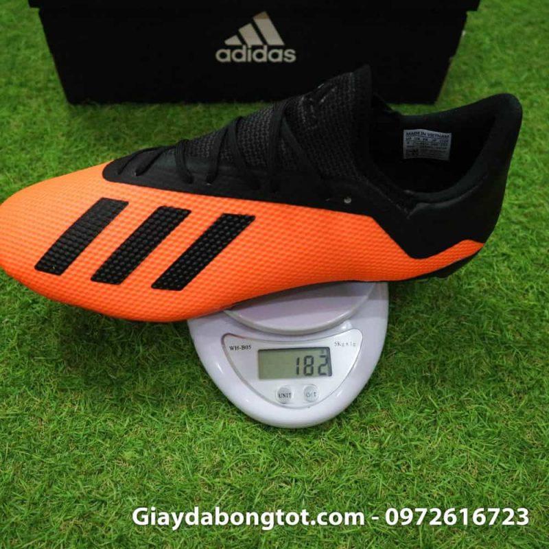 Giày đá bóng siêu nhẹ Adidas X18.3 FG cam đen da êm mềm (1)