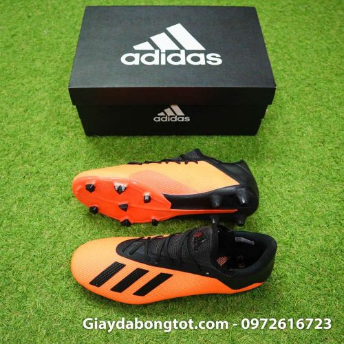 Giày đá bóng siêu nhẹ Adidas X18.3 FG cam đen da êm mềm (2)