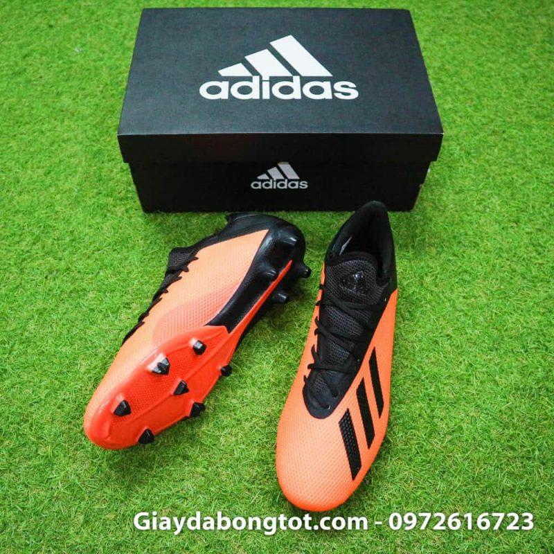 Giày đá bóng siêu nhẹ Adidas X18.3 FG cam đen da êm mềm (3)