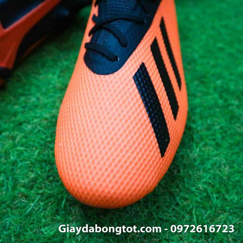 Giày đá bóng siêu nhẹ Adidas X18.3 FG cam đen da êm mềm (5)