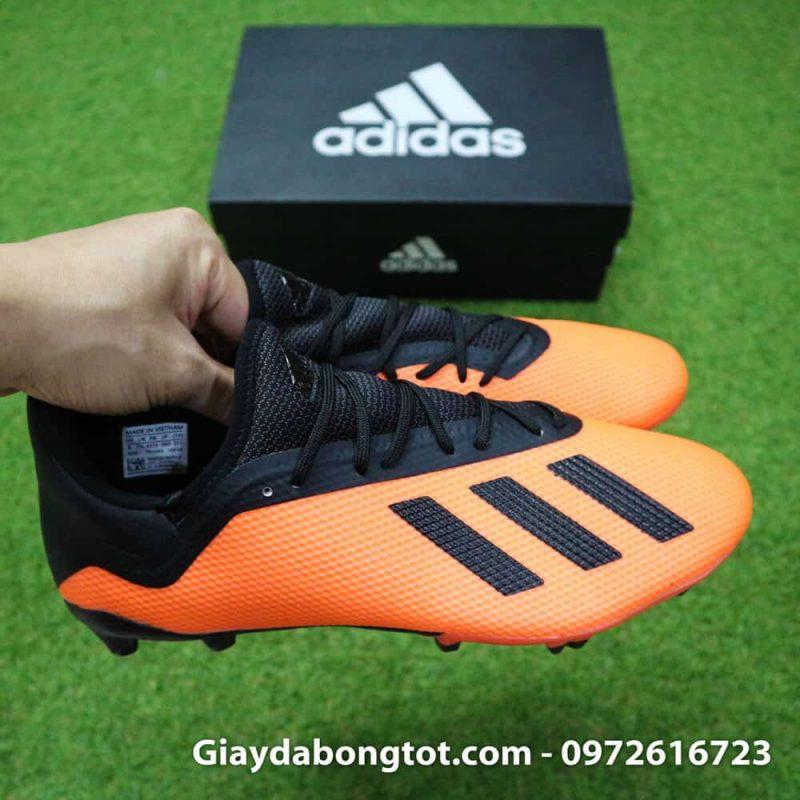 Giày đá bóng siêu nhẹ Adidas X18.3 FG cam đen da êm mềm (7)