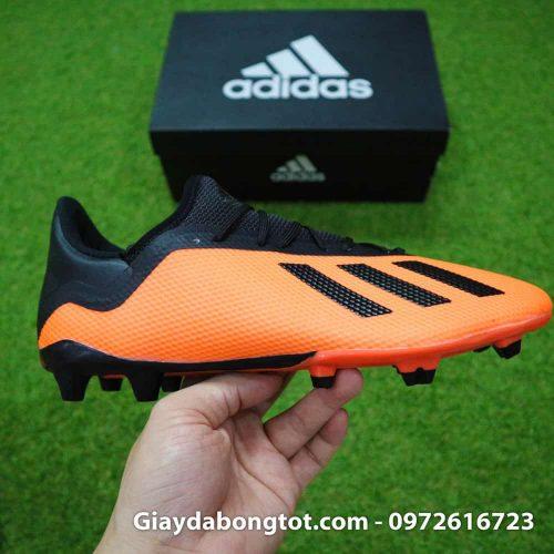 Giày đá bóng siêu nhẹ Adidas X18.3 FG cam đen da êm mềm (9)
