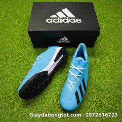 Giày sân cỏ nhân tạo Adidas X19.3 TF màu xanh dương nhạt vạch đen (3)
