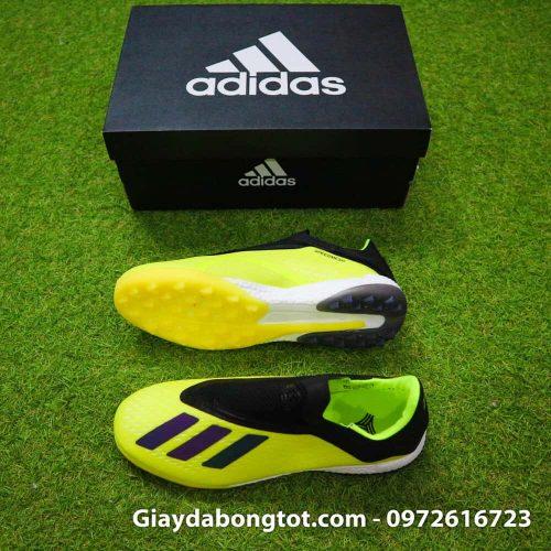 Giay da banh khong day Adidas X18+ TF mau Vang Chuoi vach Den (11)