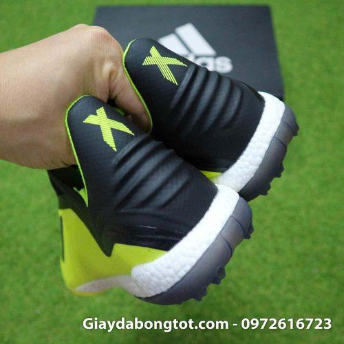 Giay da banh khong day Adidas X19+ TF mau Vang Chuoi vach Den (1)