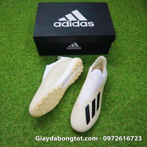 Giay da bong san co nhan tao khong day sieu nhe Adidas X18+ mau trang sua (3)