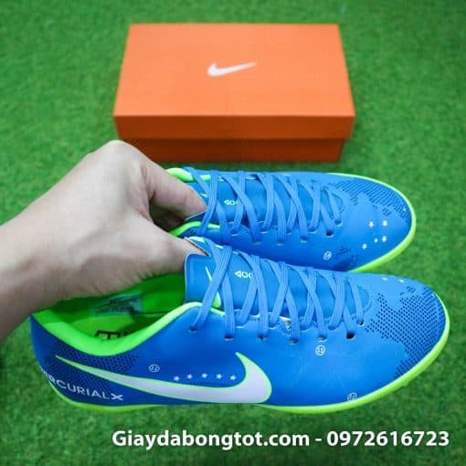 Giày sân cỏ nhân tạo Neymar TF xanh dương với form giày thon gọn, da mỏng thật chân