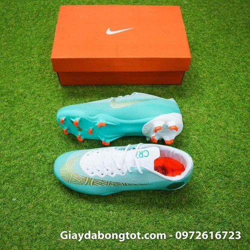 Giày đá bóng sân cỏ tự nhiên Nike Mercurial CR7 FG màu xanh trắng