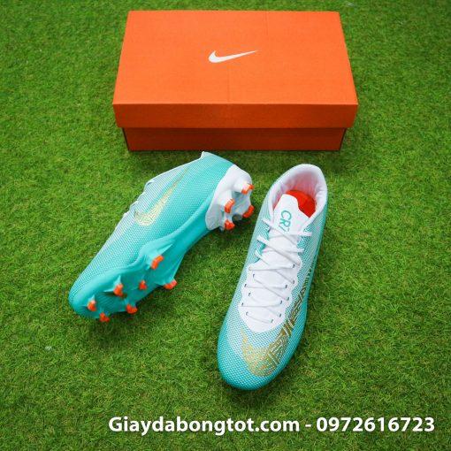 Giày đá bóng Nike Mercurial CR7 đinh cao FG màu xanh trắng Chapter 6