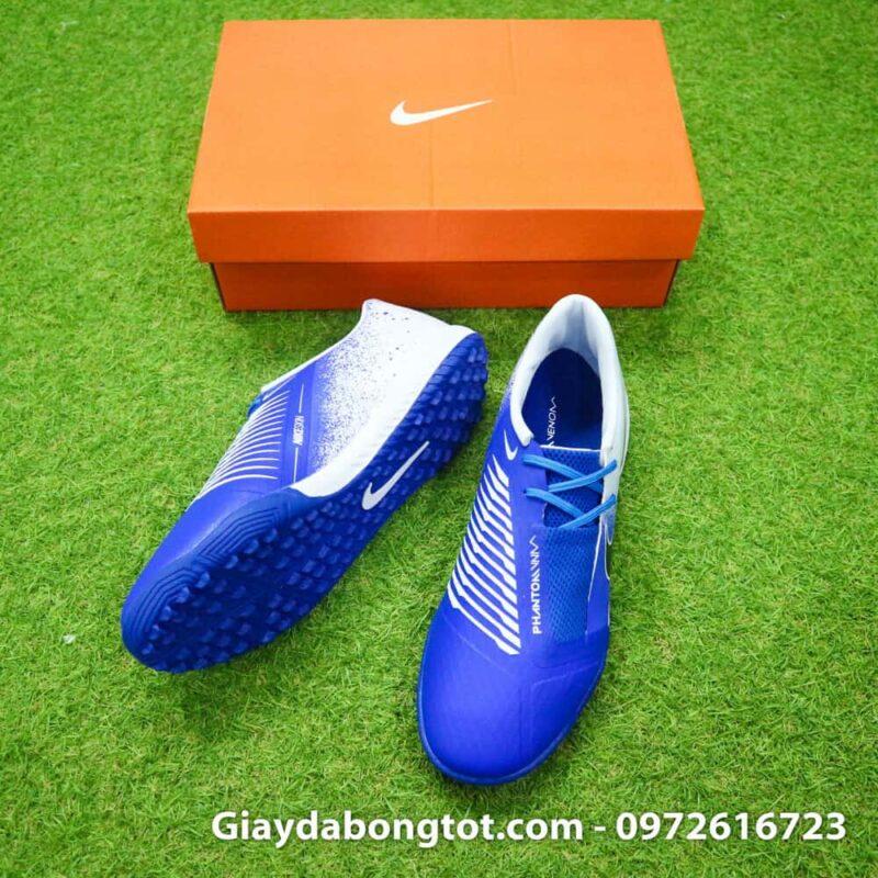 Giay da bong Nike Phantom VNM TF xanh duong trang (3)