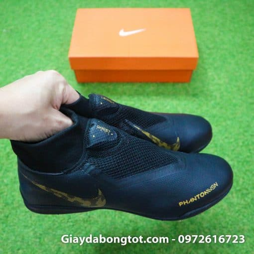 Giày Nike cao cổ Nike Phantom VSN màu đen có da giày mềm mại thoải mái