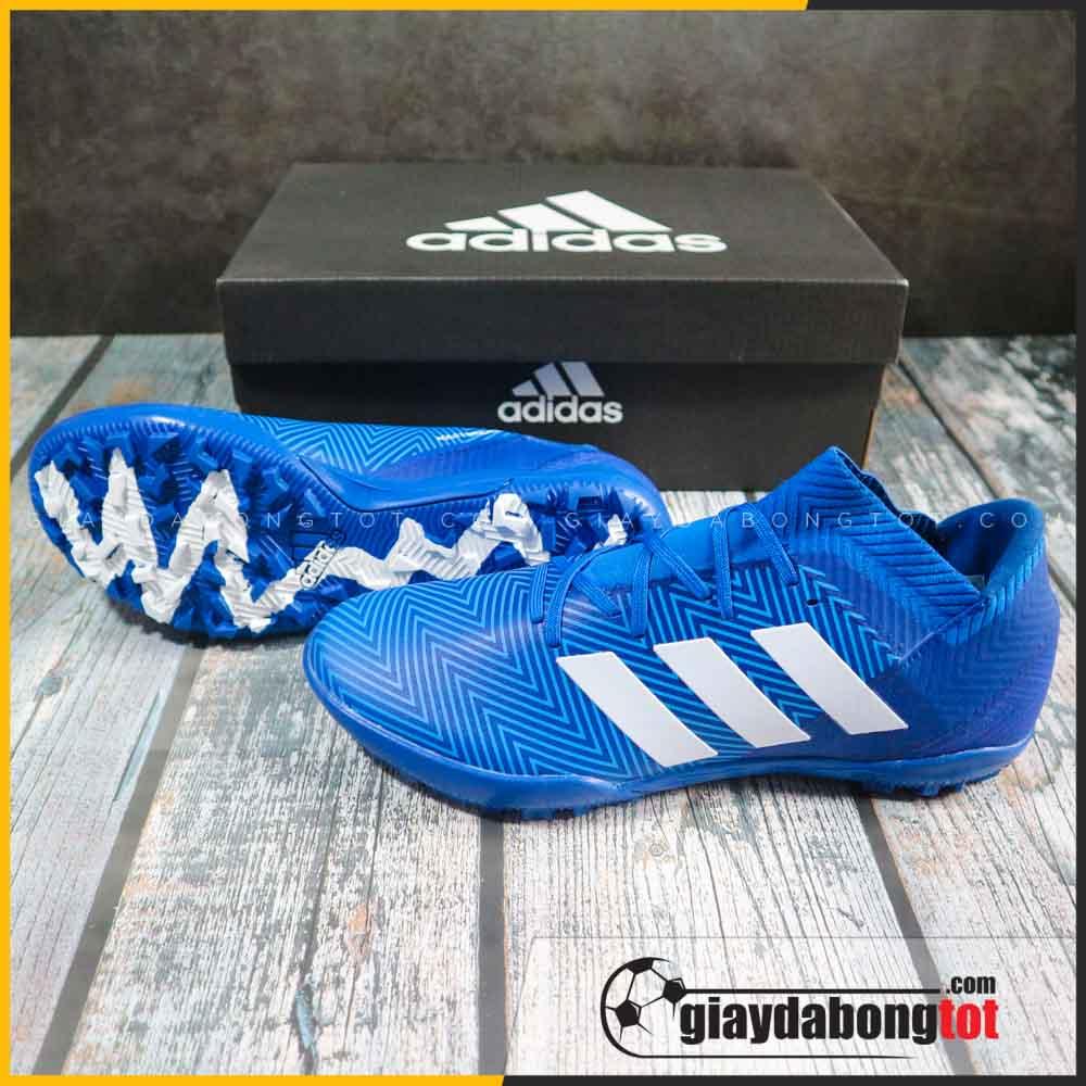 Giay da bong san co nhan tao adidas nemeziz 18.3 tf xanh duong vach trang sieu ben (2)