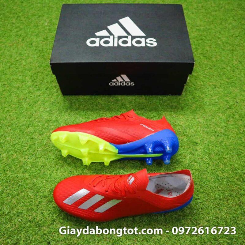 Thiết kế đẹp mắt ôm chân của giày đá banh sân cỏ tự nhiên Adidas X18.1 FG màu đỏ
