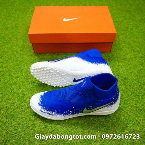 Giay da bong co cao Nike Phantom VSN Pro TF mau xanh duong trang (2)