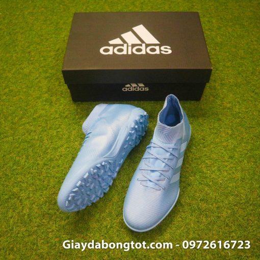 Thiết kế đẹp mắt của giày đá banh da vải Adidas Nemeziz 18.3 TF màu xanh nhạt