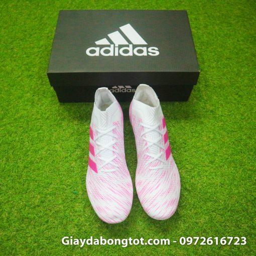 Giày đá banh màu hồng trắng Adidas Nemeziz 18.1 FG có form giày gọn gàng ôm chân
