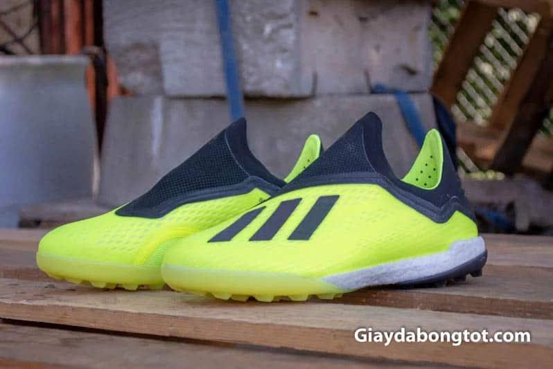Giày Adidas X18+ không dây có đệm boost êm ái hỗ trợ vừa đá bóng vừa đi chơi