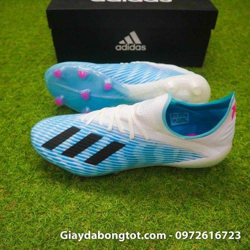 Giày bóng đá Adidas X19.1 FG xanh nhạt trắng với form giày thon gọn và trọng lượng nhẹ