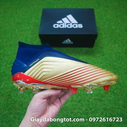 Giay da banh khong day Adidas Predator 19+ FG Vang Gold Zidane (12)