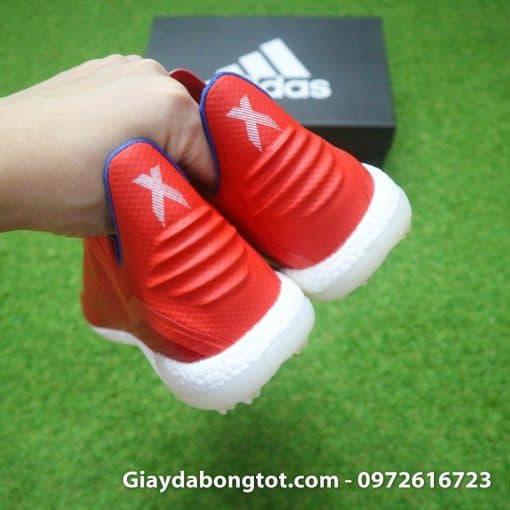 Giay da banh khong day Adidas X18+ TF mau do vach bac (10)