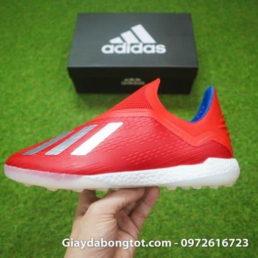 Giay da banh khong day Adidas X18+ TF mau do vach bac (11)
