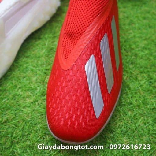 Giay da banh khong day Adidas X18+ TF mau do vach bac (5)