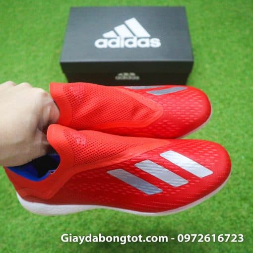 Giay da banh khong day Adidas X18+ TF mau do vach bac (8)