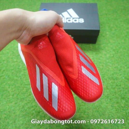 Giay da banh khong day Adidas X18+ TF mau do vach bac (9)