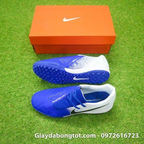 Giay da bong em chan Nike Phantom VNM TF xanh duong trang (2)