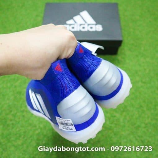 Giay bong da khong day Adidas Predator 19+ TF xanh duong vach bac 2019 em chan (1)