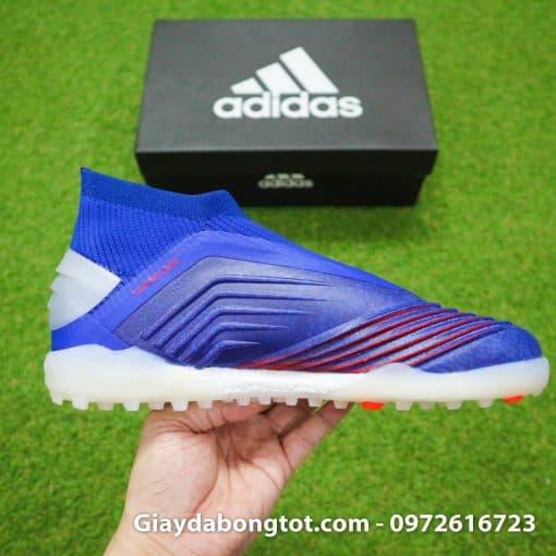 Giay bong da khong day Adidas Predator 19+ TF xanh duong vach bac 2019 em chan (11)