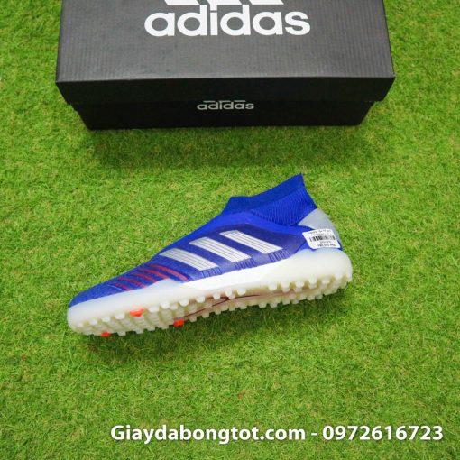 Giay bong da khong day Adidas Predator 19+ TF xanh duong vach bac 2019 em chan (12)