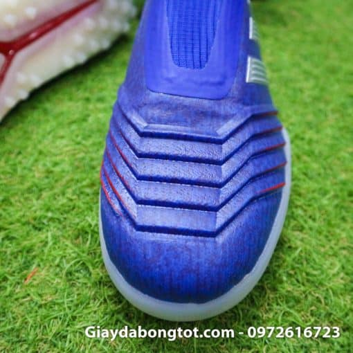 Giay bong da khong day Adidas Predator 19+ TF xanh duong vach bac 2019 em chan (6)