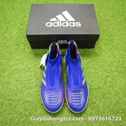 Giay bong da khong day Adidas Predator 19+ TF xanh duong vach bac 2019 em chan (7)