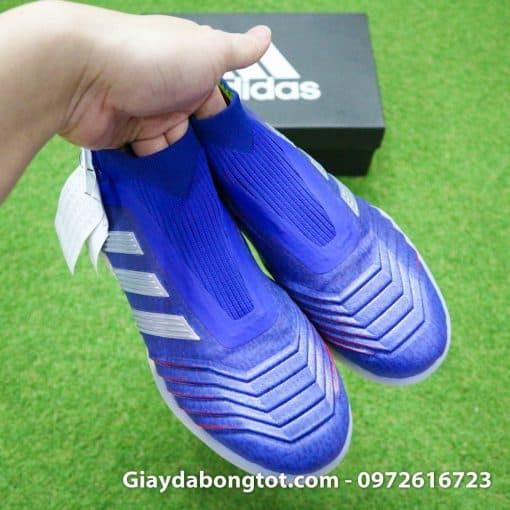 Giay bong da khong day Adidas Predator 19+ TF xanh duong vach bac 2019 em chan (9)