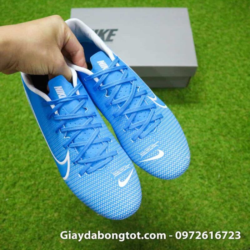 Giay bong da Nike Mercurial Vapor 13 AG xanh duong vach trang 2019 (11)