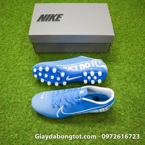Giay bong da Nike Mercurial Vapor 13 AG xanh duong vach trang 2019 (2)