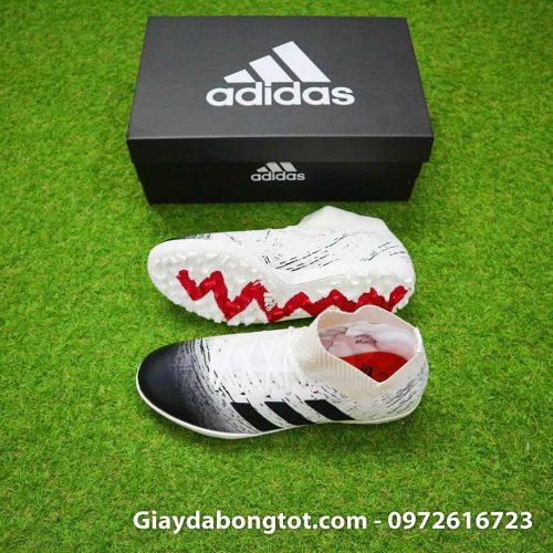 Giày Adidas Nemeziz 18.3 TF màu trắng đen với thiết kế cổ thun ôm chân độc đáo