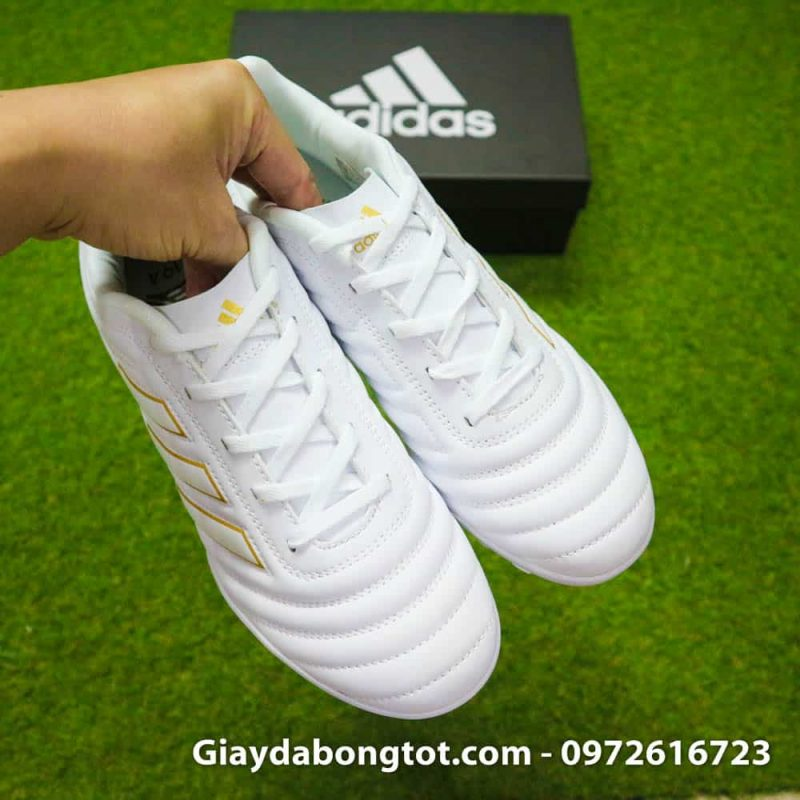 Giay da bong chan be Adidas Copa 19.4 TF trang vach vang 2019 sieu nhe (8)