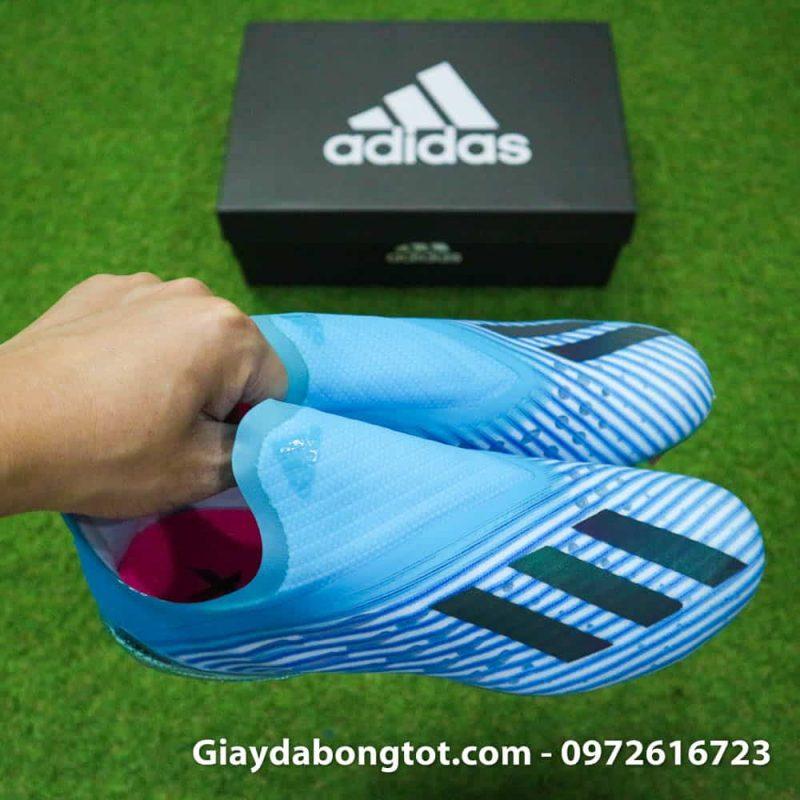 Giay da bong khong day Adidas X19+ FG mau xanh duong nhat Van Hau (10)