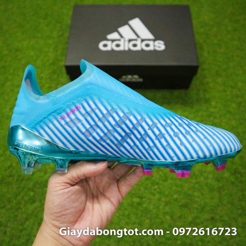 Giay da bong khong day Adidas X19+ FG mau xanh duong nhat Van Hau (14)
