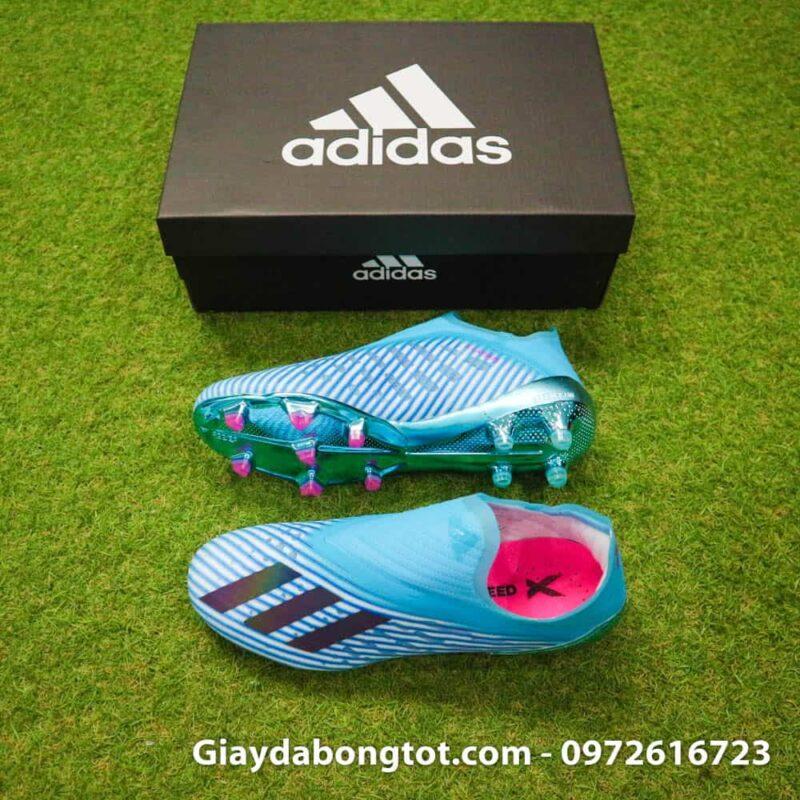 Giay da bong khong day Adidas X19+ FG mau xanh duong nhat Van Hau (2)