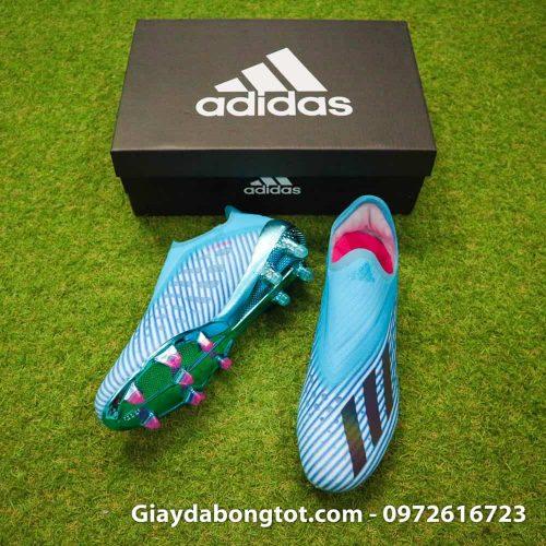 Thiết kế không dây cực kỳ độc đáo của giày đá bóng Adidas X19+ FG màu xanh dương nhạt