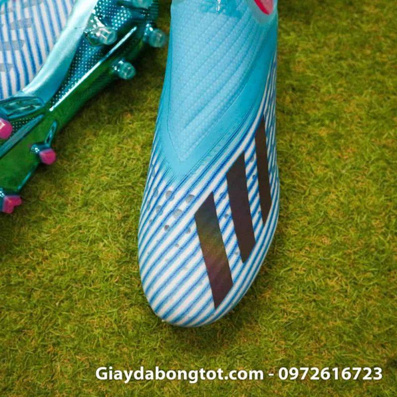 Giay da bong khong day Adidas X19+ FG mau xanh duong nhat Van Hau (8)