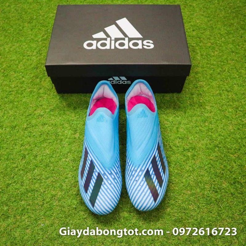 Giay da bong khong day Adidas X19+ FG mau xanh duong nhat Van Hau (9)