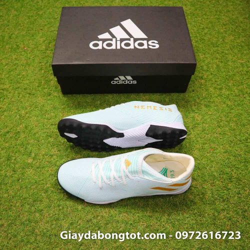 Giày đá banh chân bè Adidas Nemeziz Messi 19.3 TF trắng vạch vàng